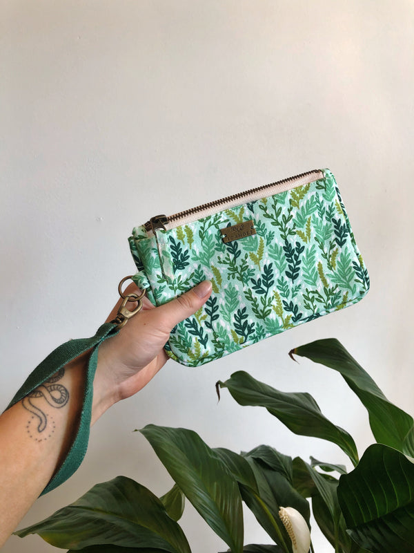 Mint Meadow Zipper Clutch