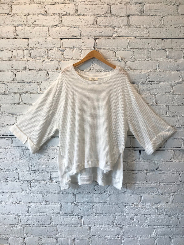 Off-White Waffle Knit Top - Plus
