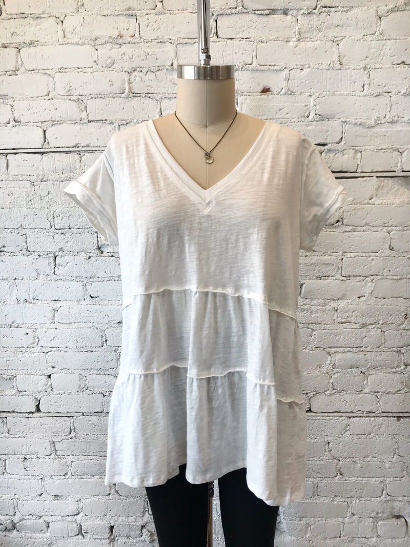 V-Neck White Ruffled Tunic - Plus