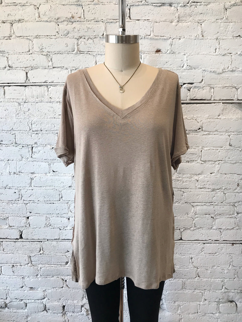 Latte Slub Knit Tee - Plus