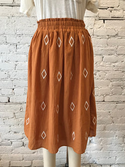 Camel Diamond Embroidered Midi Skirt