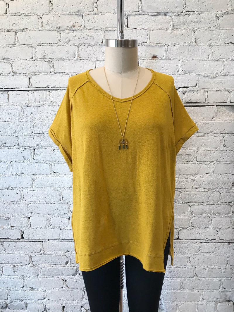 Goldenrod Rolled Sleeve V-Neck - Plus