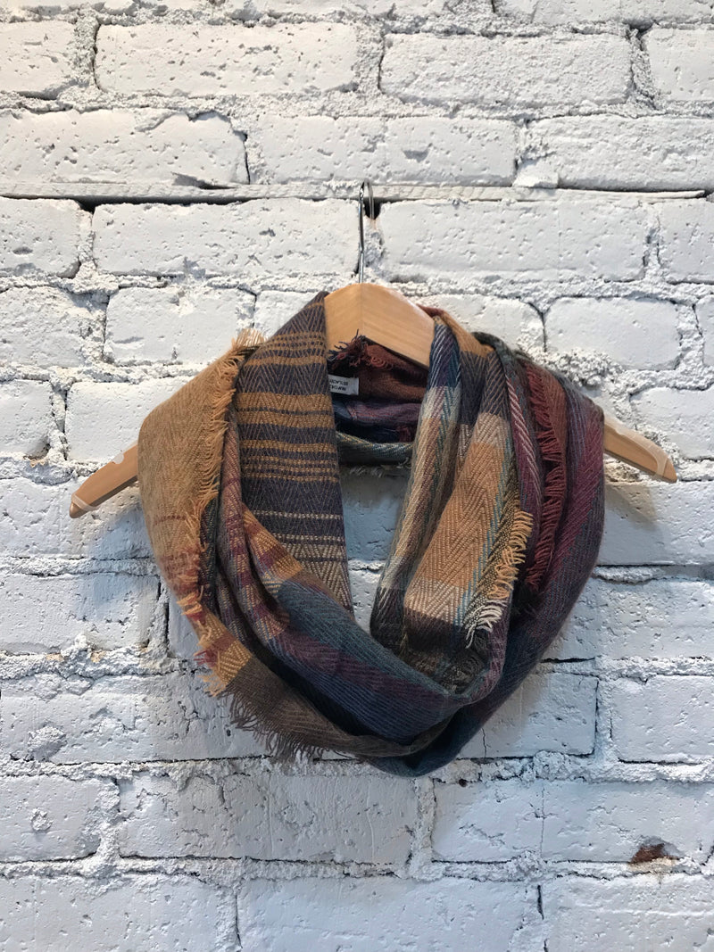 Plaid Frayed Infinity Scarf - Camel