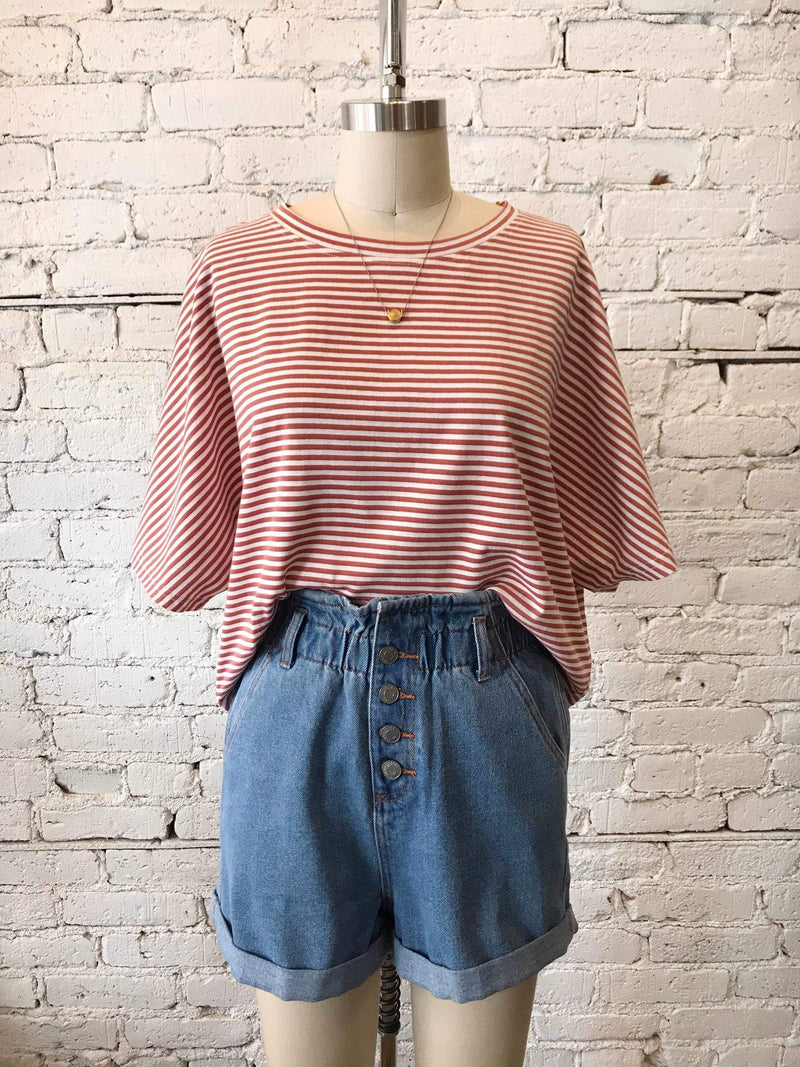 Island Life Stripe Top - Berry-Crop Top-Yellow Umbrella