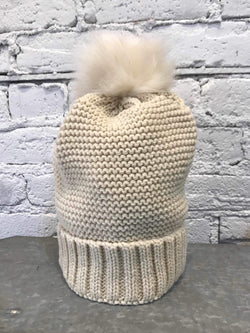Ivory Fur-Lined Pom Beanie-Hat-Yellow Umbrella