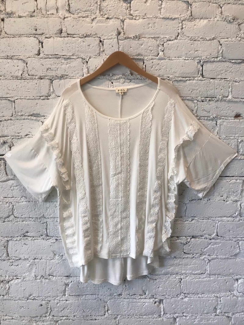 Ivory Lace Trim Boxy top-Top-Yellow Umbrella