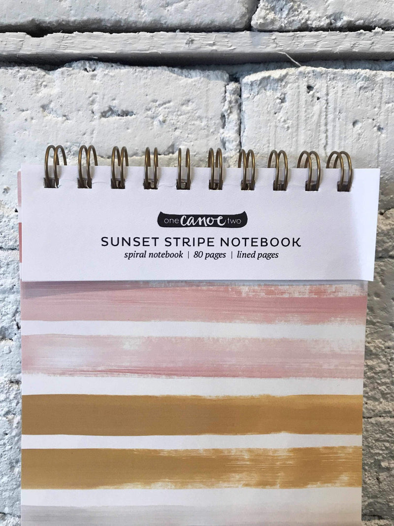 Large Sunset Stripe Spiral Notebook-Stationary-Yellow Umbrella