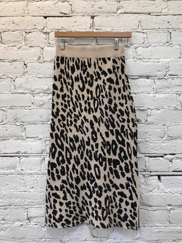 Leopard Knit Pencil Skirt-Skirt-Yellow Umbrella