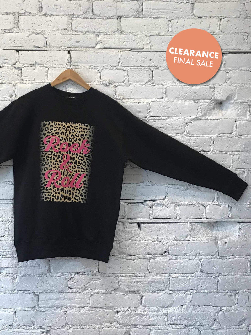Leopard Rock-n-Roll Sweatshirt-Sweatshirt-Yellow Umbrella