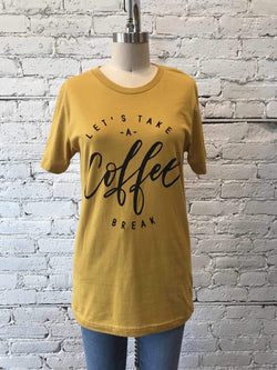 """Lets Have a Coffee Break"" Graphic Top-Graphic Top-Yellow Umbrella"