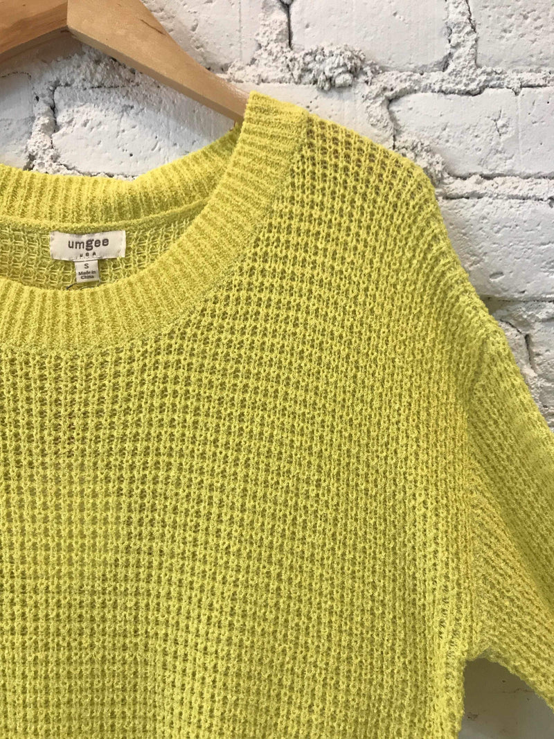 Lime Waffle-Knit Pullover-Sweater-Yellow Umbrella