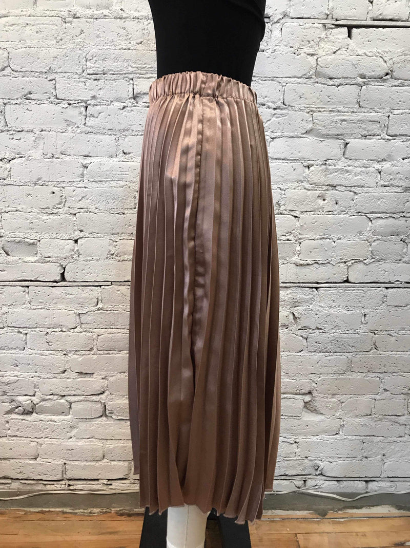 Metallic Mocha Pleated Skirt-Skirt-Yellow Umbrella