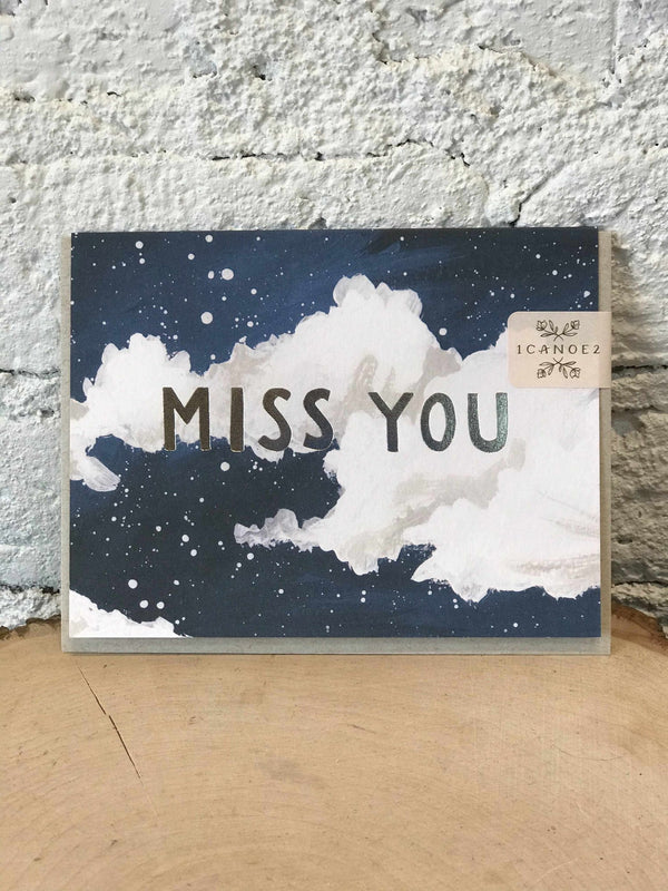 Miss You Clouds-Cards-Yellow Umbrella