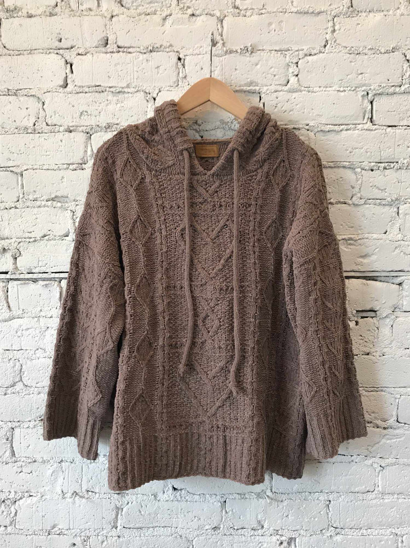 Mocha Chenille Hooded Sweater-Sweater-Yellow Umbrella