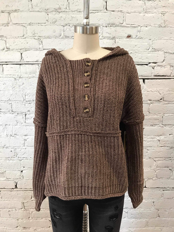 Mocha Half-Buttoned Chenille Sweater-Sweater-Yellow Umbrella