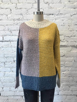 Multi Color Block Mock Neck Sweater-Sweater-Yellow Umbrella