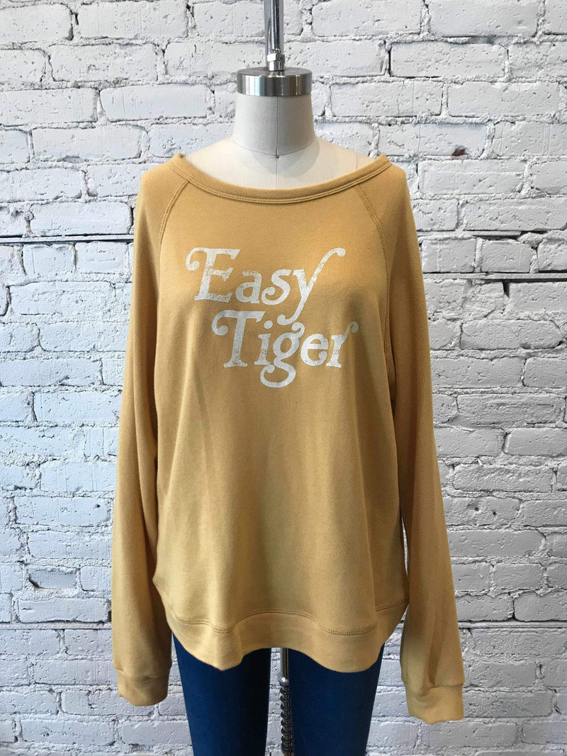Mustard 'Easy Tiger' Graphic Pullover-Sweater-Yellow Umbrella