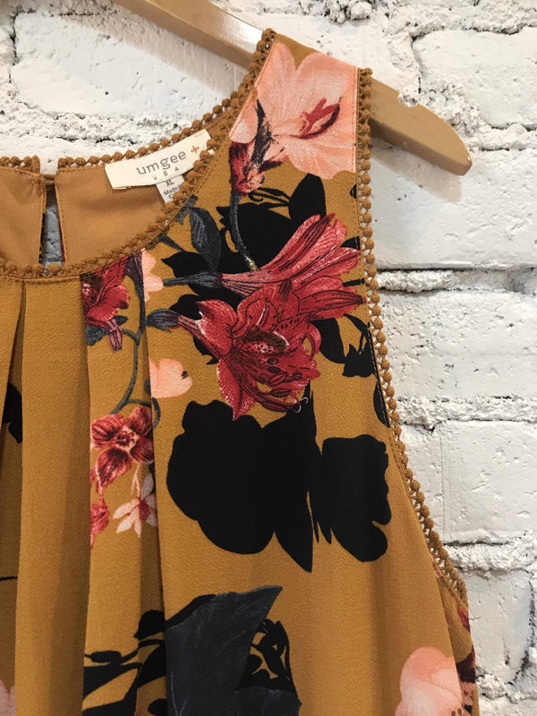 Mustard Floral Mix Dress-Plus-Plus Size Dress-Yellow Umbrella