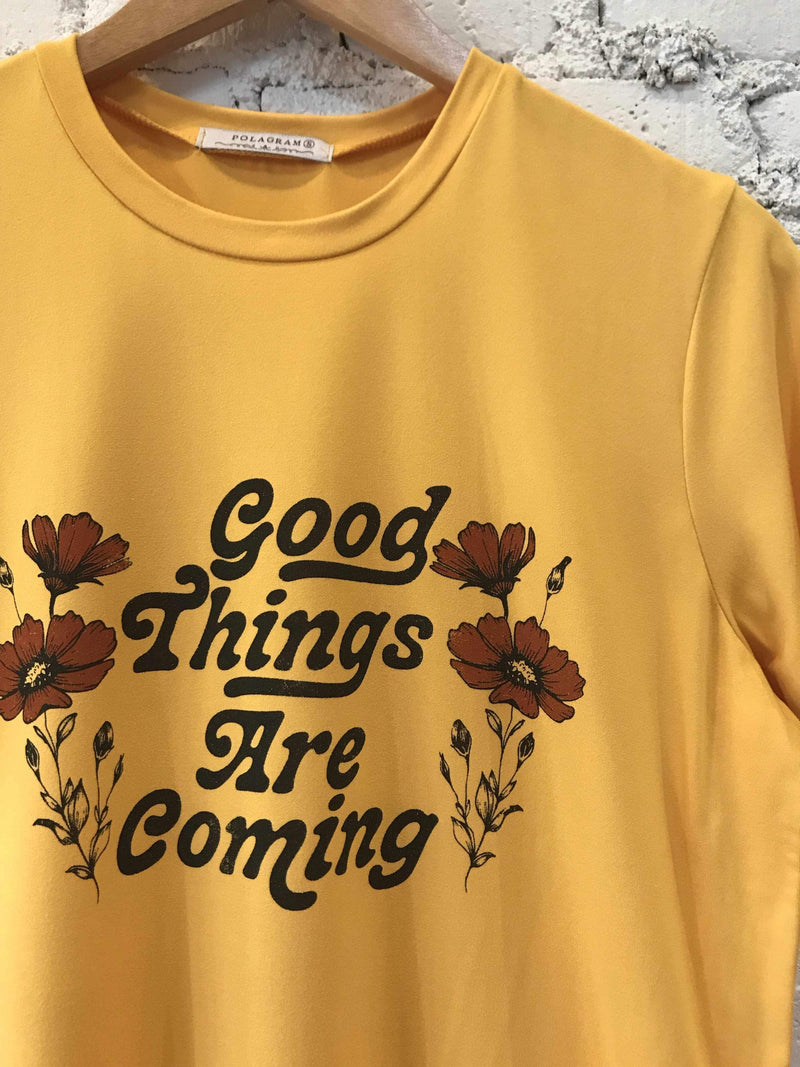 "Mustard ""Good Things are Coming"" Shirt-Graphic Top-Yellow Umbrella"