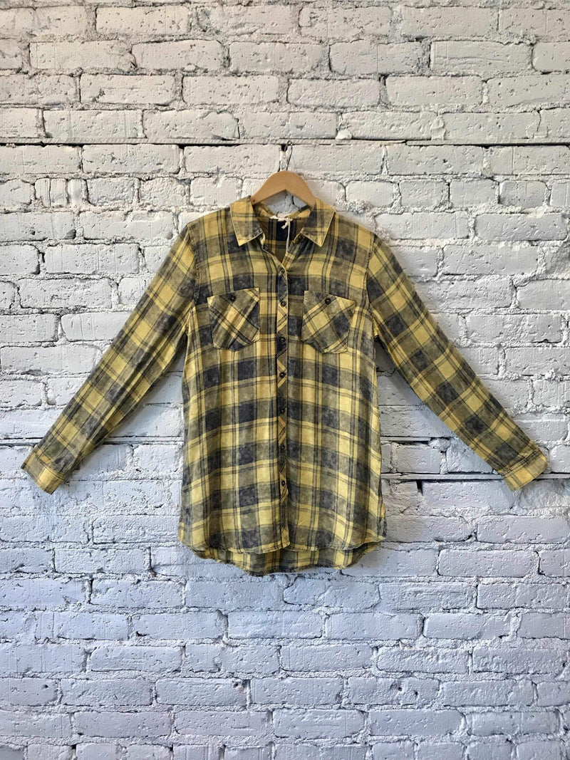 Mustard Plaid Shirt-shirt-Yellow Umbrella