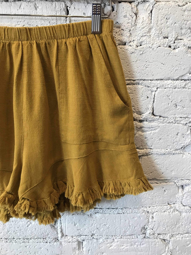 Mustard Ruffle-Hem Shorts-Shorts-Yellow Umbrella