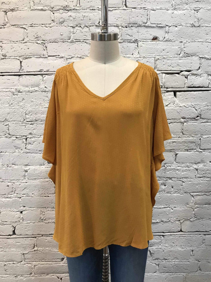 Mustard Speckled Flutter-Sleeve Top-Top-Yellow Umbrella