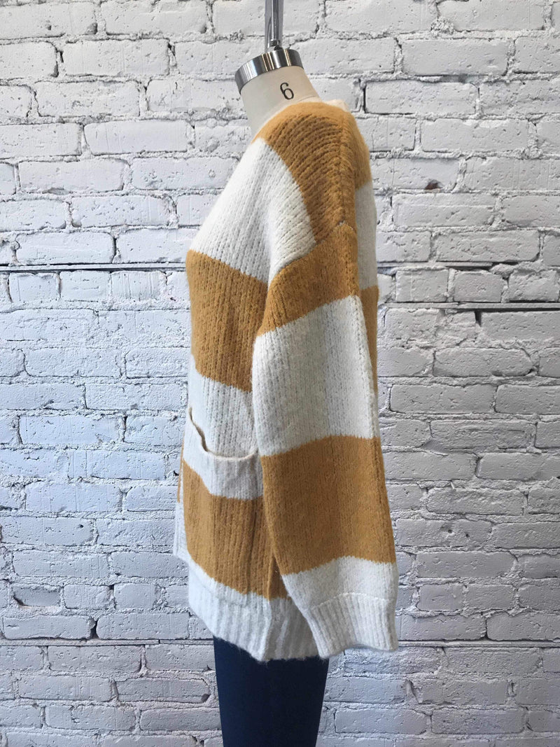 Mustard Stripe Oversized Cardigan-cardigan-Yellow Umbrella