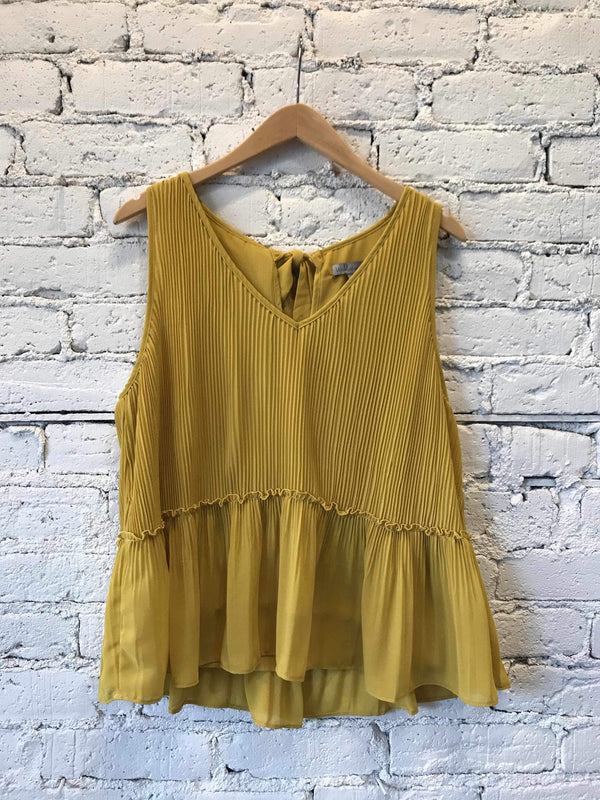 Mustard Tie-Back Pleated Blouse-Top-Yellow Umbrella