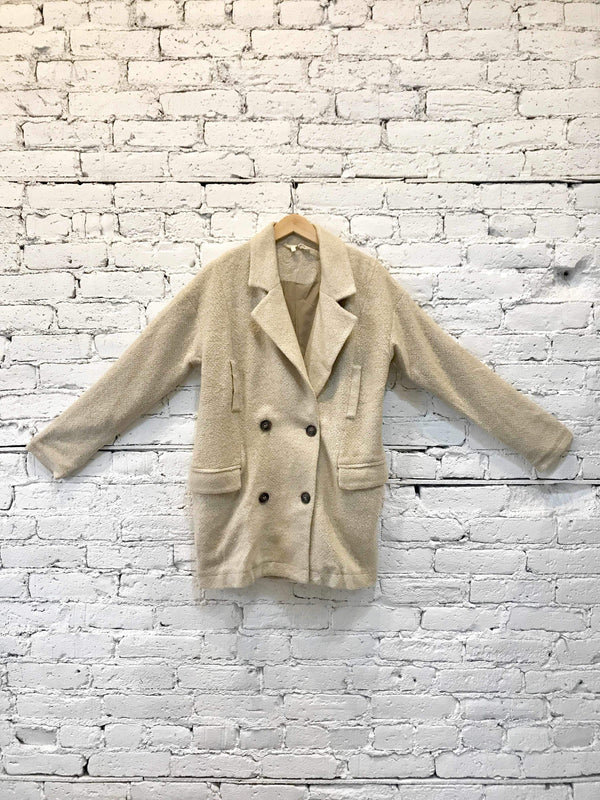 Natural Double Breasted Boucle Coat-Jacket-Yellow Umbrella