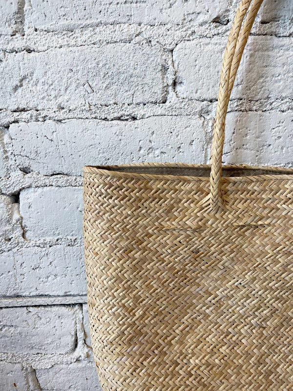 Natural Straw Tote-Handbag-Yellow Umbrella