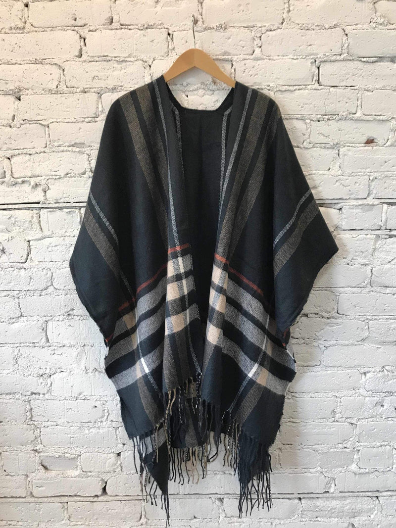 Navy Plaid Poncho-Poncho-Yellow Umbrella