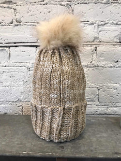 Neutral Knit Pom Hat-Hat-Yellow Umbrella
