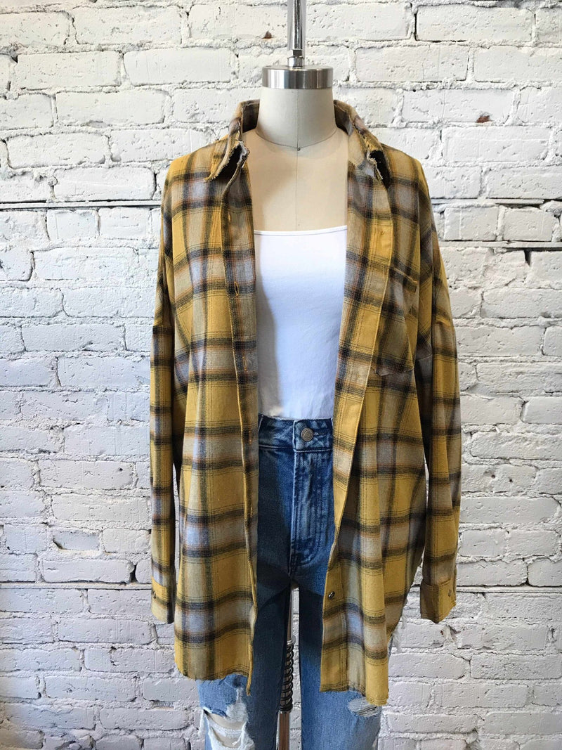 Not Your Boyfriends Flannel-long sleeve-Yellow Umbrella