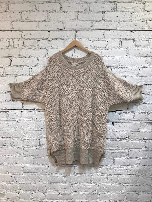 Oatmeal 3/4 Sleeve Sweater-Plus Size Sweater-Yellow Umbrella