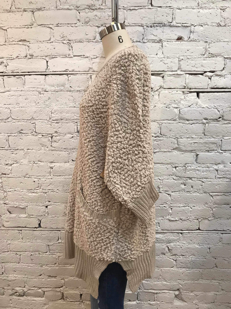 Oatmeal 3/4 Sleeve Sweater-Sweater-Yellow Umbrella