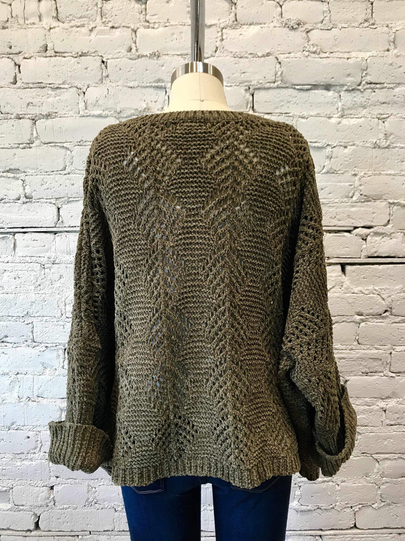 Olive Fallen Leaf Chenille Sweater-Sweater-Yellow Umbrella