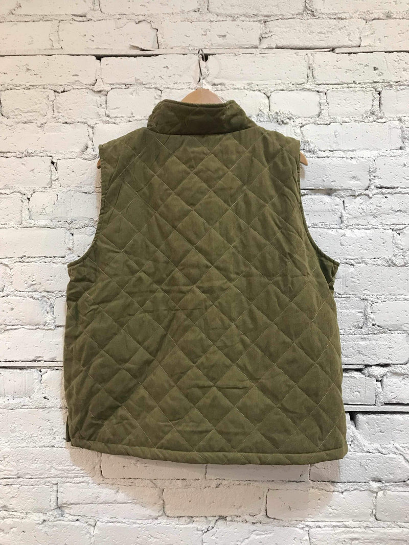 Olive Quilted Vest-Plus Size Vest-Yellow Umbrella