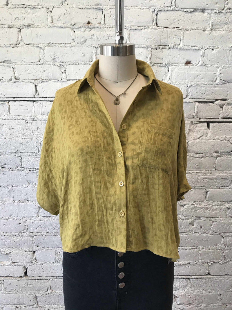 On The Prowl Cropped Button-up Top-shirt-Yellow Umbrella