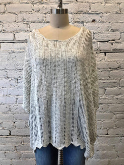 Open Knit Sweater Poncho- Sage/white mix-Sweater-Yellow Umbrella