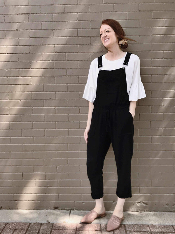 Overall Jumpsuit with Elastic Tie Waist-Overalls-Yellow Umbrella
