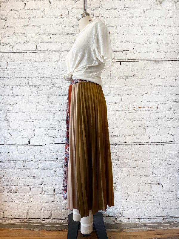 Patchwork Pleated Midi Skirt-Skirt-Yellow Umbrella