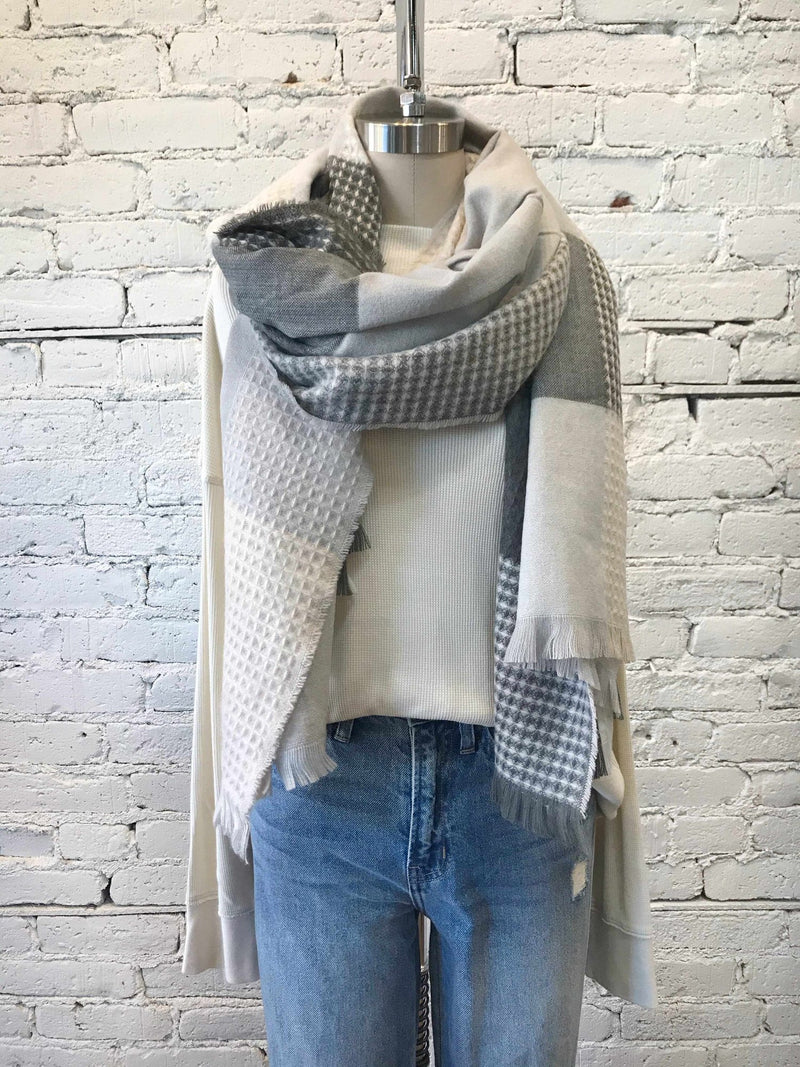 Plaid Waffle Knit Scarf-Winter Knits-Yellow Umbrella