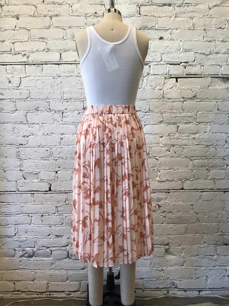 Pleated Patterned Midi Skirt - Blush-Skirt-Yellow Umbrella