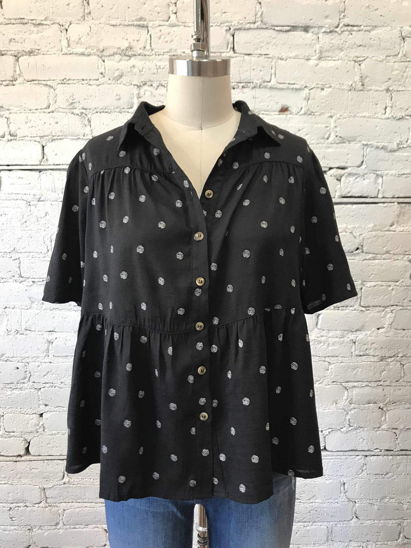 Polka Dot Babydoll Button-Up-Babydoll Shirt-Yellow Umbrella