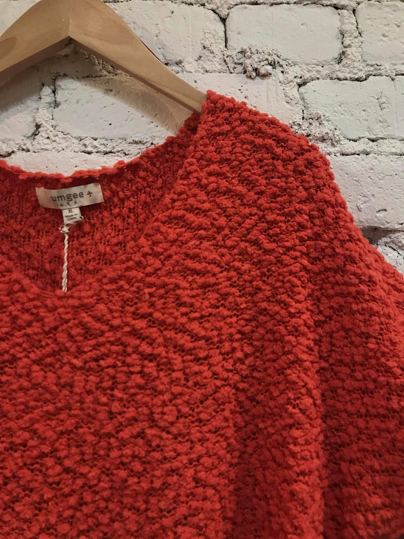 Poppy Red Popcorn Knit Sweater-Plus Size Sweater-Yellow Umbrella