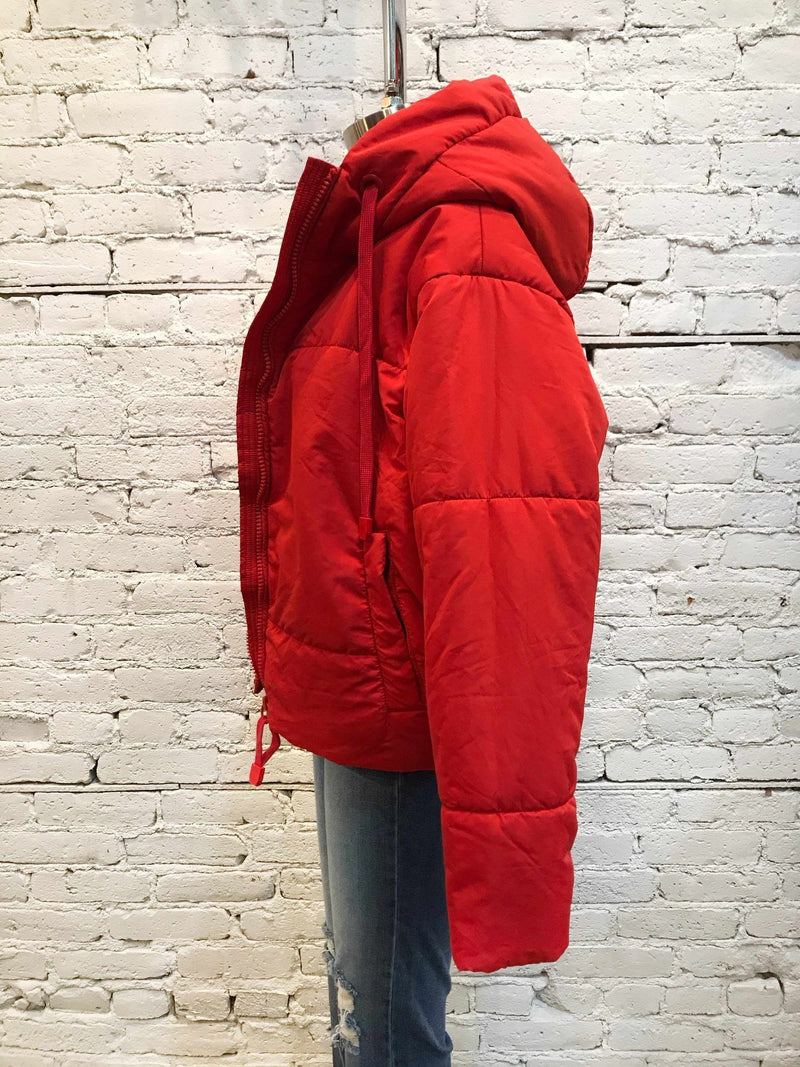 Red Puffer Jacket-jacket-Yellow Umbrella