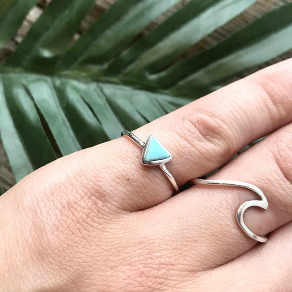Pura Vida Triangle Silver and Turquoise Ring-Jewelry-Yellow Umbrella
