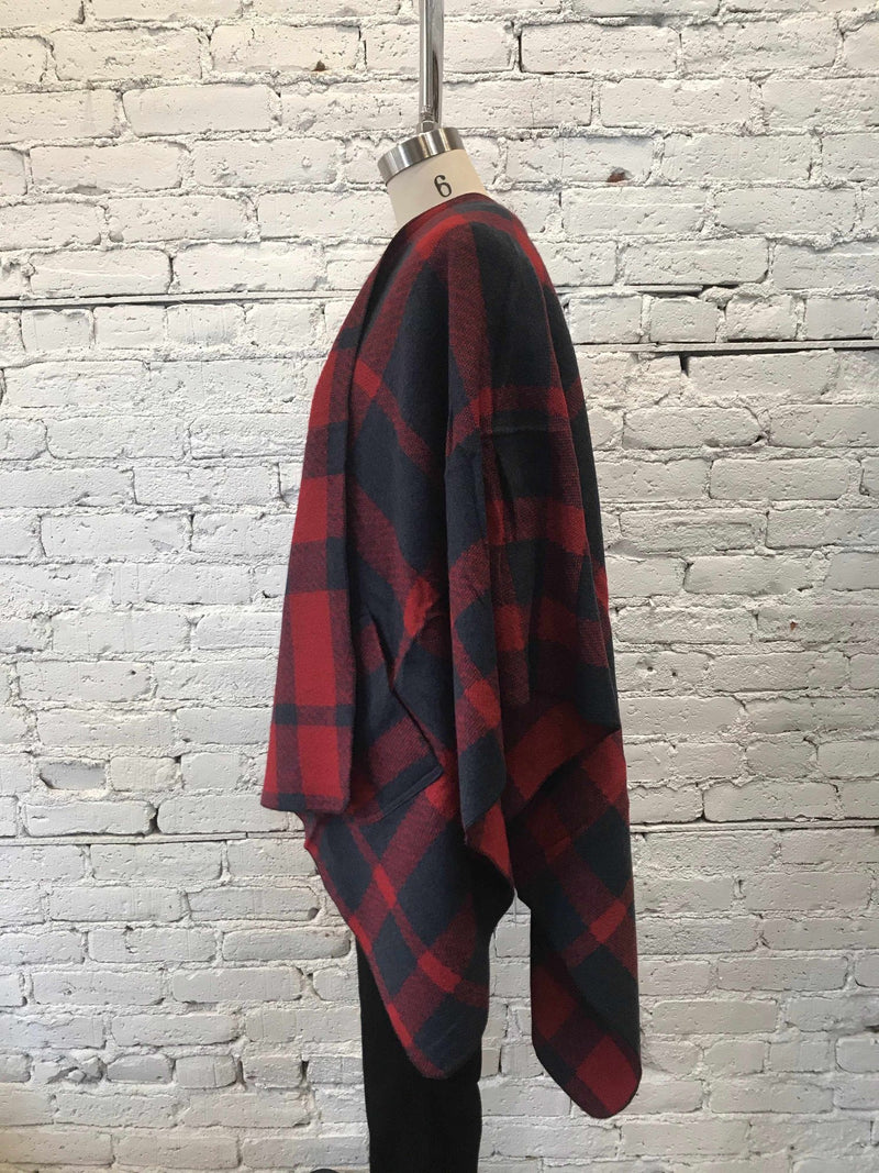 Red And Navy Plaid Shawl-shaw-Yellow Umbrella