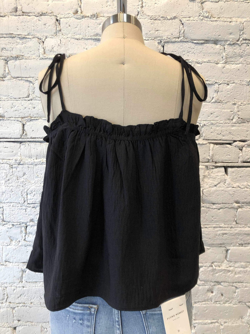 Ruffled Tie Tank - Black-tank-Yellow Umbrella