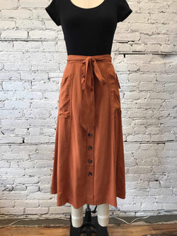 Rust Button Skirt-Skirt-Yellow Umbrella